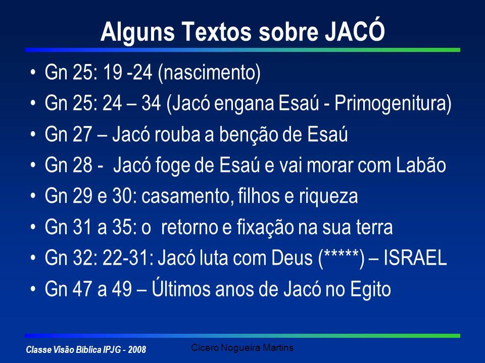 Classe Visão Bíblica IPJG - 2008 Cicero Nogueira Martins Alguns Textos sobre JACÓ Gn 25: 19 -24 (nascimento) Gn 25: 24 – 34 (Jacó engana Esaú - Primog