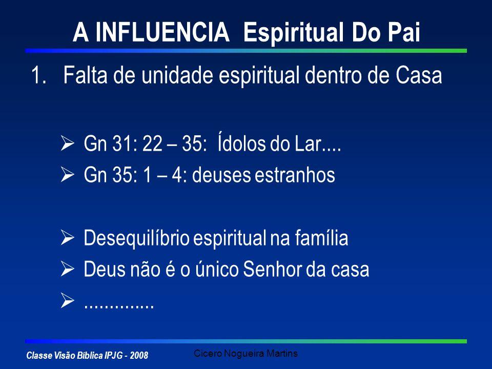 Classe Visão Bíblica IPJG - 2008 Cicero Nogueira Martins A INFLUENCIA Espiritual Do Pai 1.Falta de unidade espiritual dentro de Casa Gn 31: 22 – 35: Í