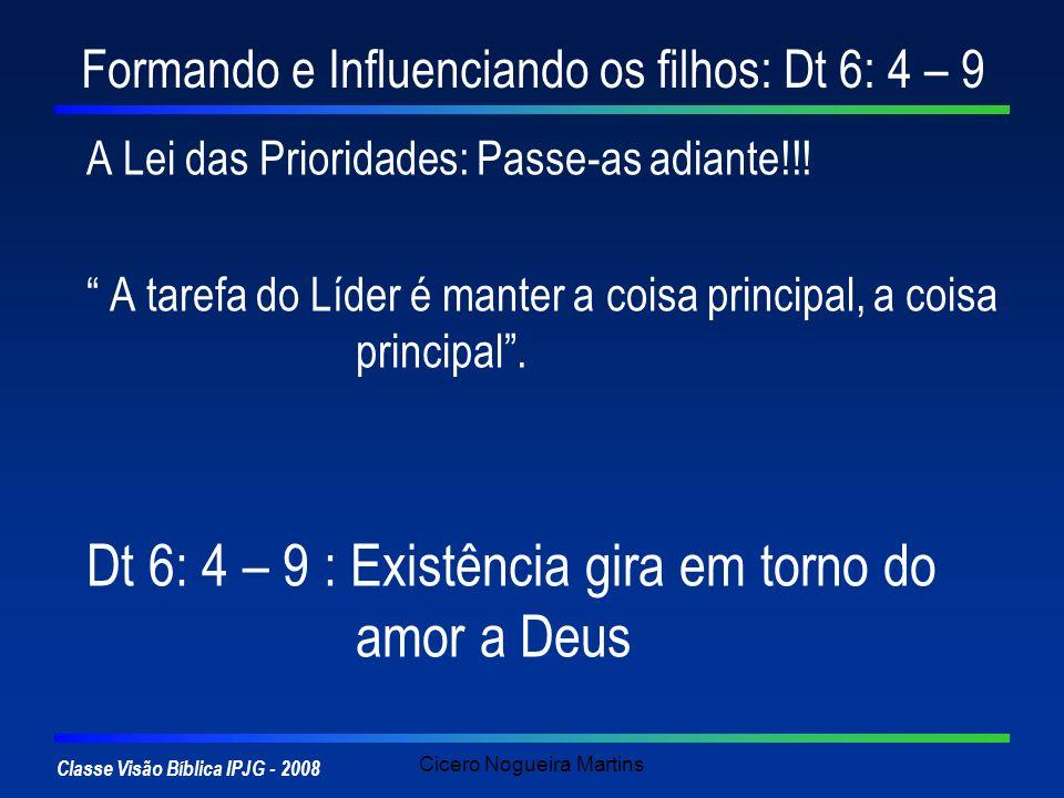 Classe Visão Bíblica IPJG - 2008 Cicero Nogueira Martins Formando e Influenciando os filhos: Dt 6: 4 – 9 A Lei das Prioridades: Passe-as adiante!!! A