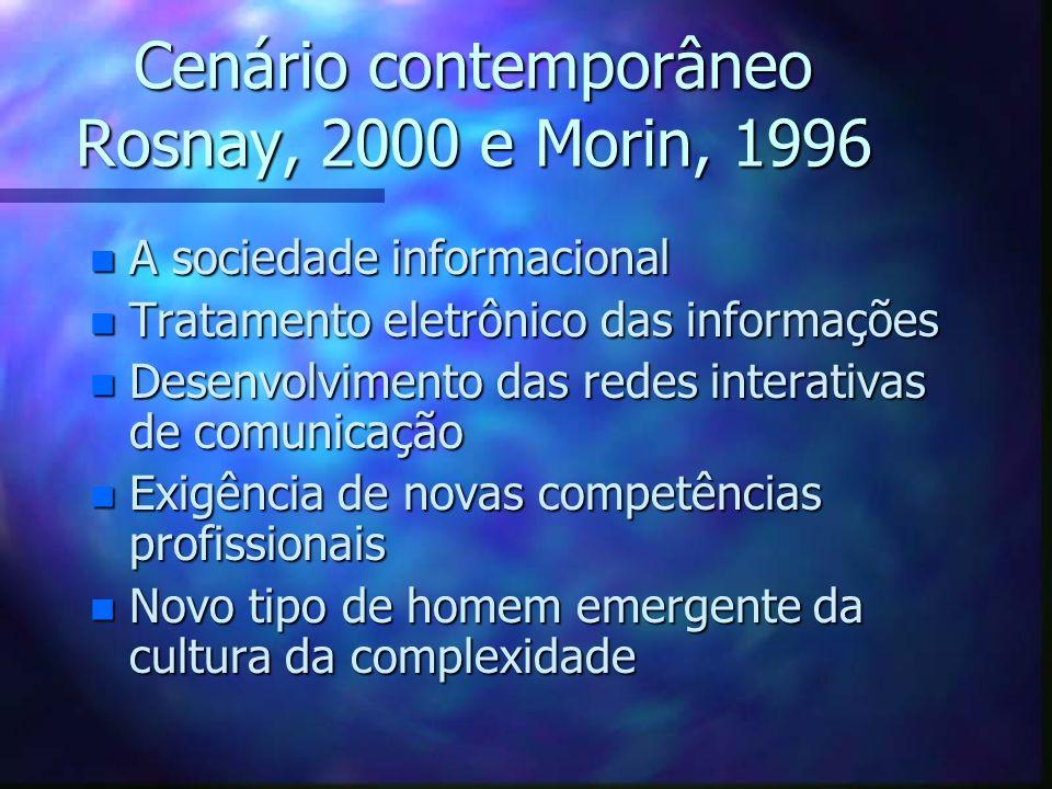 Cenário contemporâneo Rosnay, 2000 e Morin, 1996 n A sociedade informacional n Tratamento eletrônico das informações n Desenvolvimento das redes inter