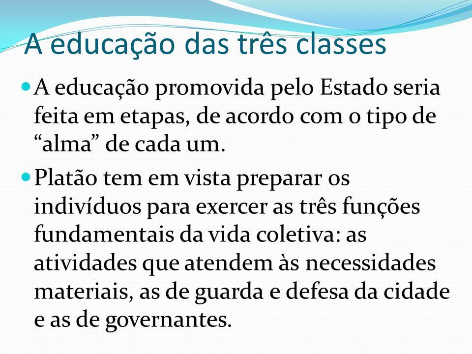 A educação das três classes A educação promovida pelo Estado seria feita em etapas, de acordo com o tipo de alma de cada um. Platão tem em vista prepa