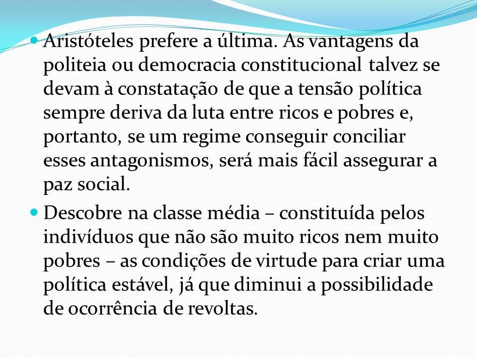 Aristóteles prefere a última. As vantagens da politeia ou democracia constitucional talvez se devam à constatação de que a tensão política sempre deri