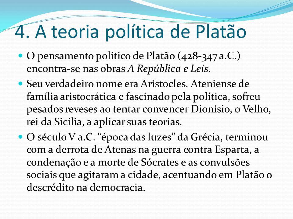 4. A teoria política de Platão O pensamento político de Platão (428-347 a.C.) encontra-se nas obras A República e Leis. Seu verdadeiro nome era Arísto