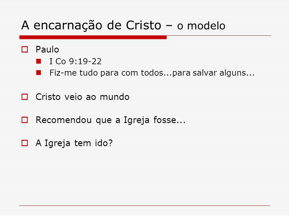 A encarnação de Cristo – o modelo Paulo I Co 9:19-22 Fiz-me tudo para com todos...para salvar alguns...