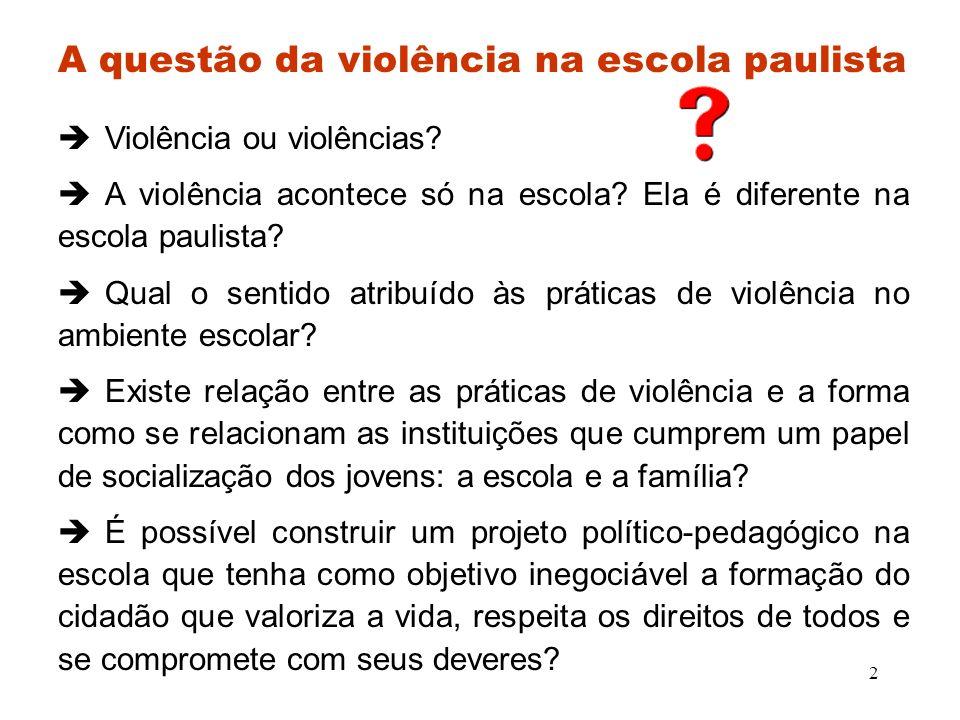3 A violência e seus contornos Sempre existiu, assume formas específicas de acordo com o momento histórico.