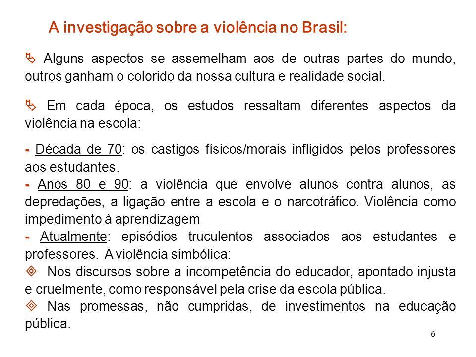 7 O que revela a violência na instituição escolar.