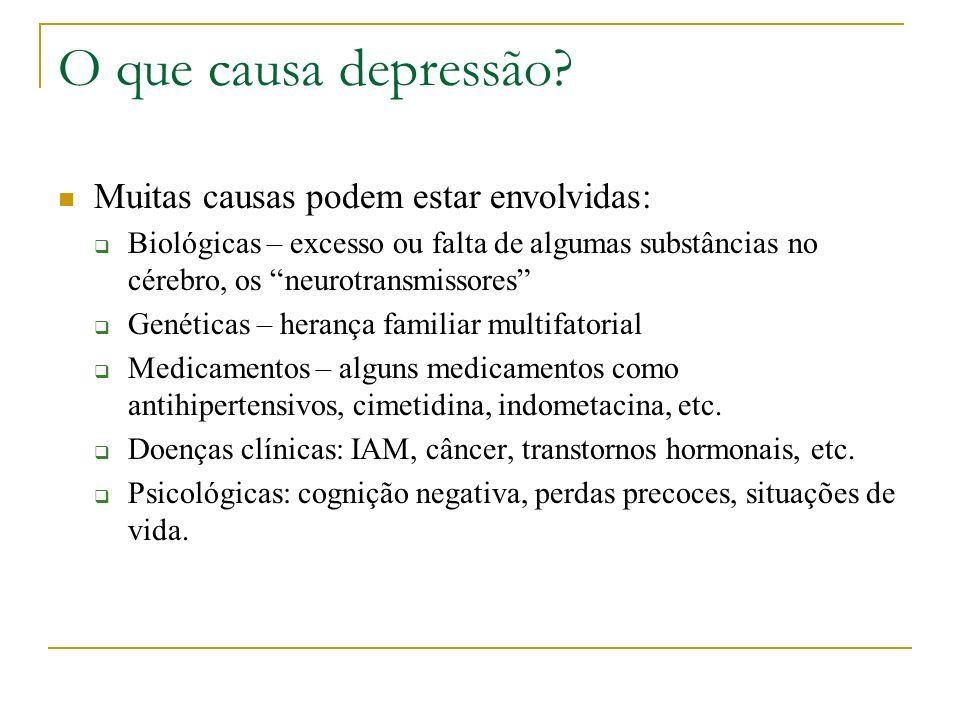 O que causa depressão? Muitas causas podem estar envolvidas: Biológicas – excesso ou falta de algumas substâncias no cérebro, os neurotransmissores Ge