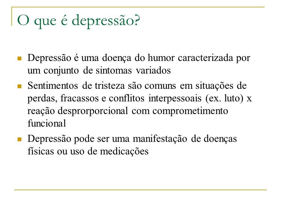 O que é depressão? Depressão é uma doença do humor caracterizada por um conjunto de sintomas variados Sentimentos de tristeza são comuns em situações