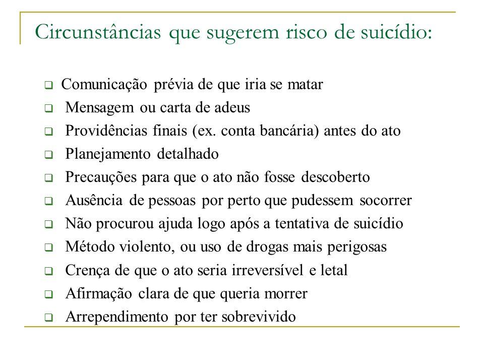 Circunstâncias que sugerem risco de suicídio: Comunicação prévia de que iria se matar Mensagem ou carta de adeus Providências finais (ex. conta bancár