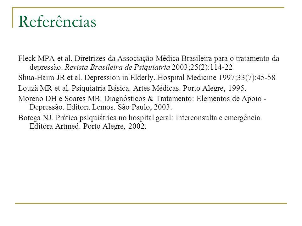 Referências Fleck MPA et al. Diretrizes da Associação Médica Brasileira para o tratamento da depressão. Revista Brasileira de Psiquiatria 2003;25(2):1