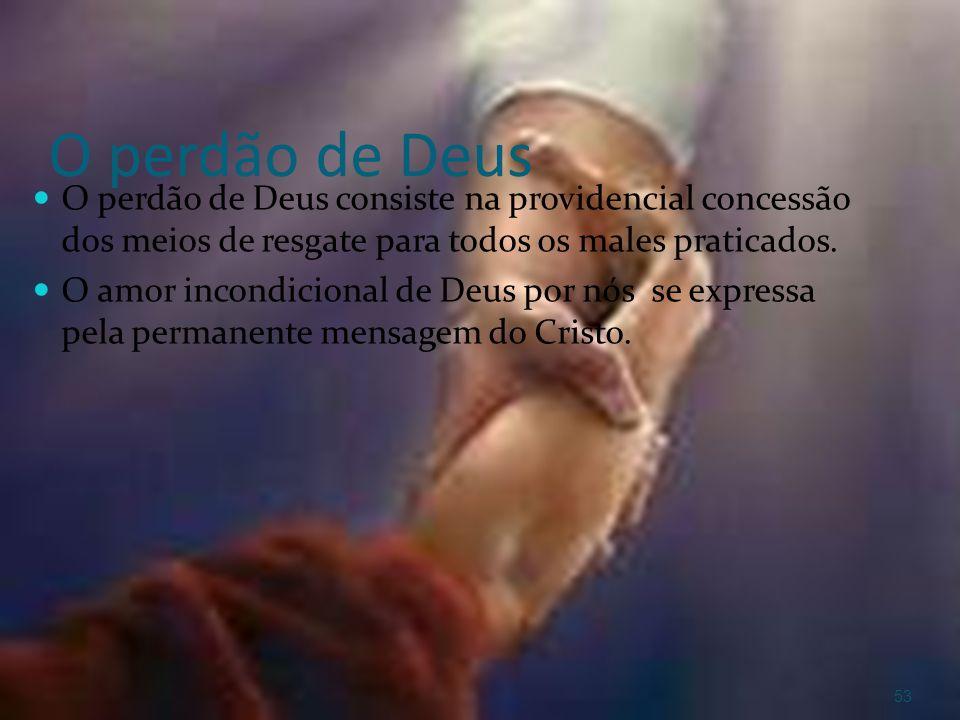 O perdão de Deus O perdão de Deus consiste na providencial concessão dos meios de resgate para todos os males praticados. O amor incondicional de Deus
