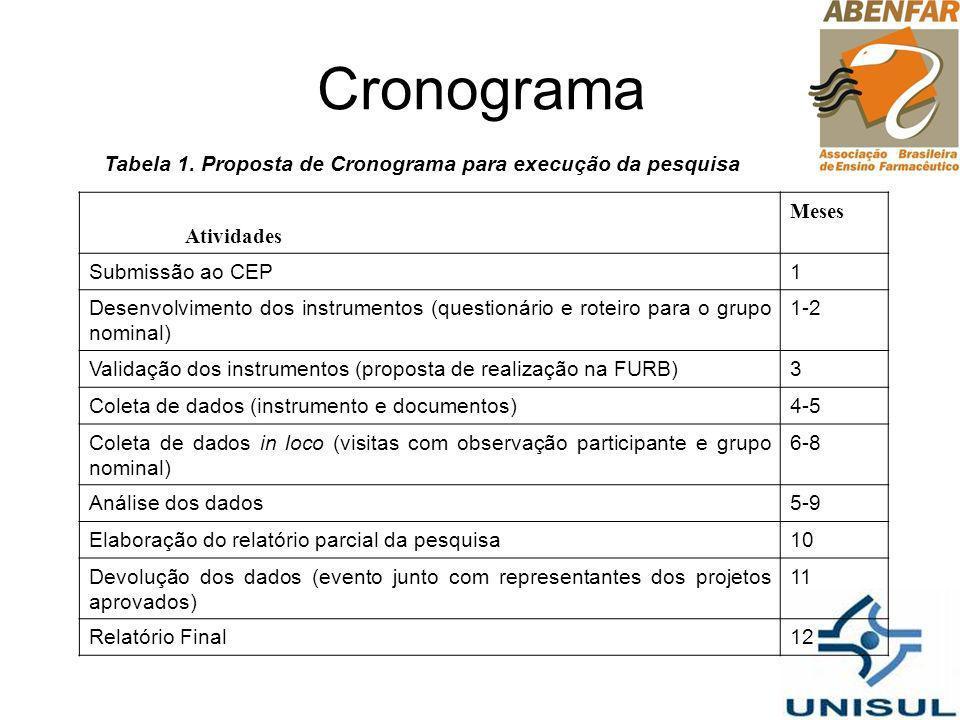 Cronograma Tabela 1. Proposta de Cronograma para execução da pesquisa Atividades Meses Submissão ao CEP1 Desenvolvimento dos instrumentos (questionári