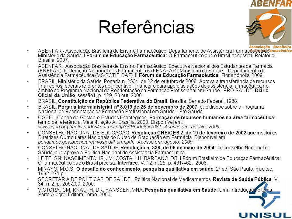 Referências ABENFAR - Associação Brasileira de Ensino Farmacêutico; Departamento de Assistência Farmacêutica do Ministério da Saúde. I Fórum de Educaç