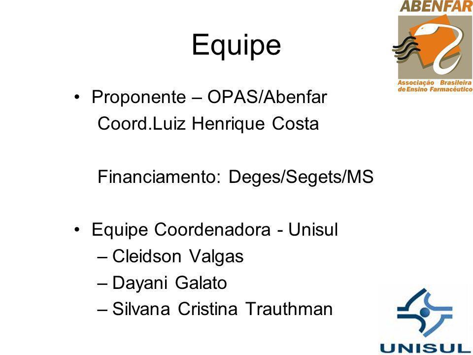 Equipe Proponente – OPAS/Abenfar Coord.Luiz Henrique Costa Financiamento: Deges/Segets/MS Equipe Coordenadora - Unisul –Cleidson Valgas –Dayani Galato