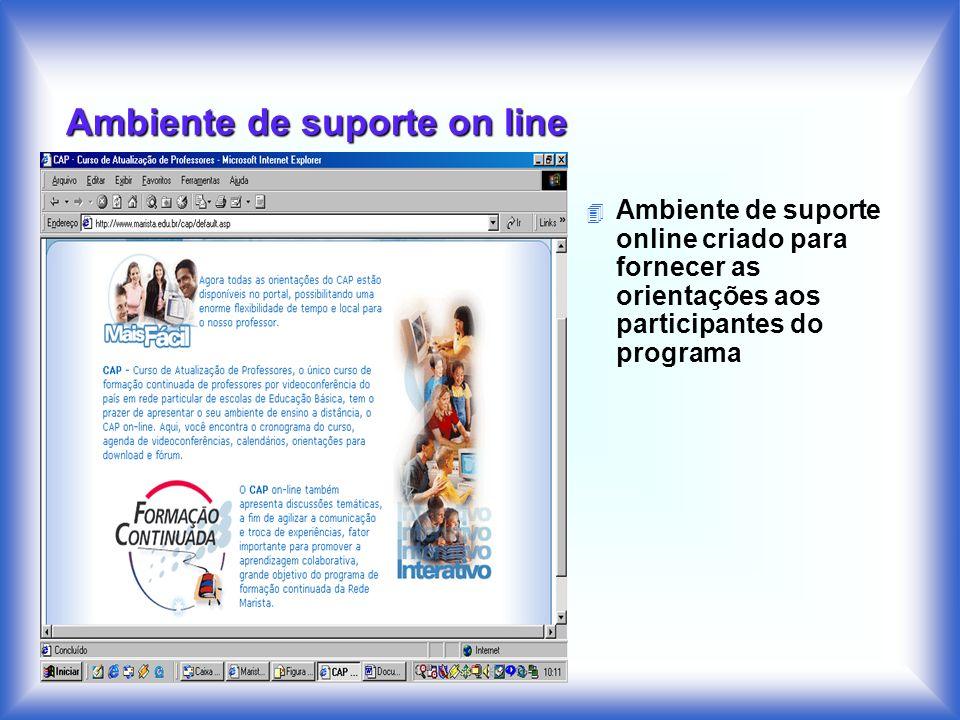 Ambiente de suporte on line 4 Ambiente de suporte online criado para fornecer as orientações aos participantes do programa