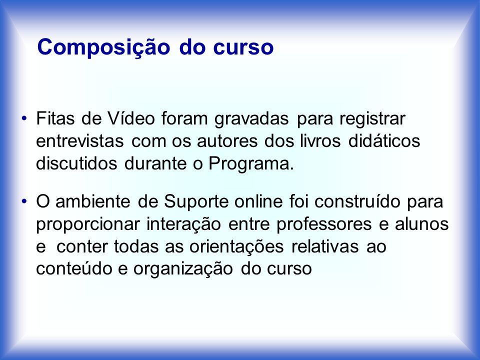 Fitas de Vídeo foram gravadas para registrar entrevistas com os autores dos livros didáticos discutidos durante o Programa. O ambiente de Suporte onli