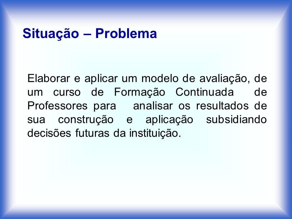Situação – Problema Elaborar e aplicar um modelo de avaliação, de um curso de Formação Continuada de Professores para analisar os resultados de sua co