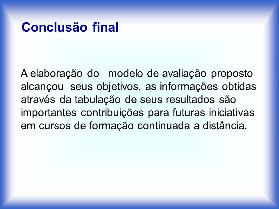 A elaboração do modelo de avaliação proposto alcançou seus objetivos, as informações obtidas através da tabulação de seus resultados são importantes c