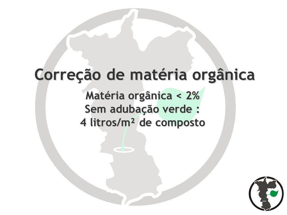 Correção de matéria orgânica Matéria orgânica < 2% Sem adubação verde : 4 litros/m² de composto