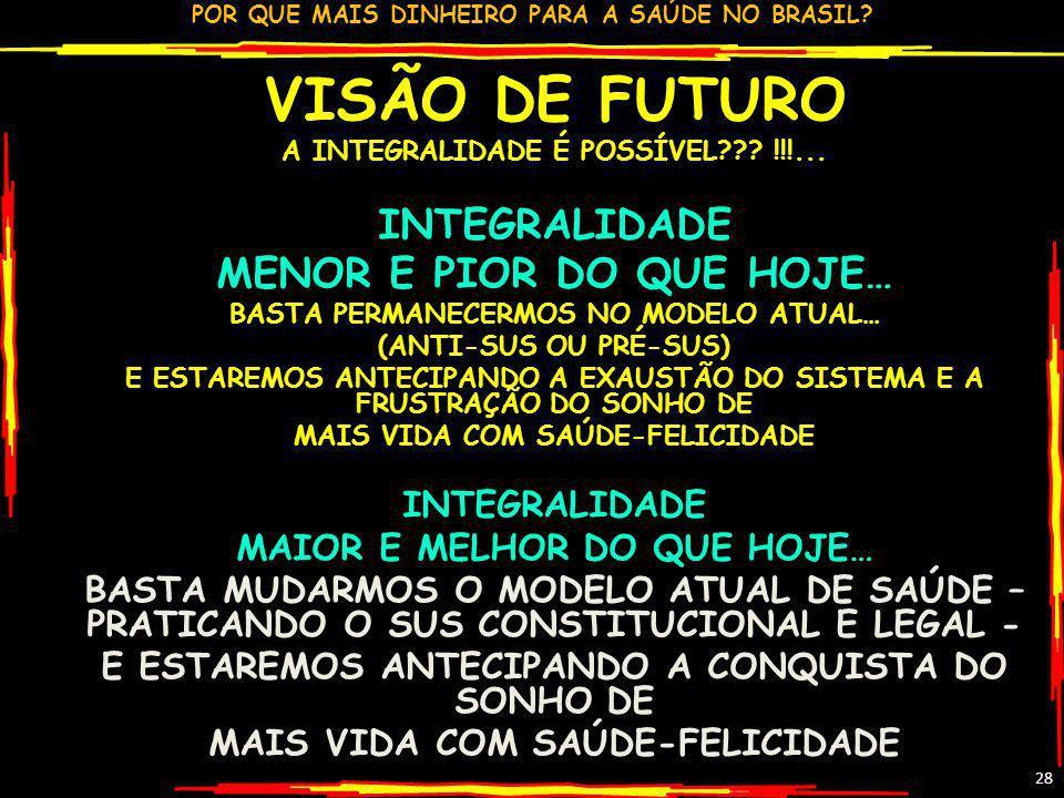 POR QUE MAIS DINHEIRO PARA A SAÚDE NO BRASIL? 28 VISÃO DE FUTURO A INTEGRALIDADE É POSSÍVEL??? !!!... INTEGRALIDADE MENOR E PIOR DO QUE HOJE… BASTA PE
