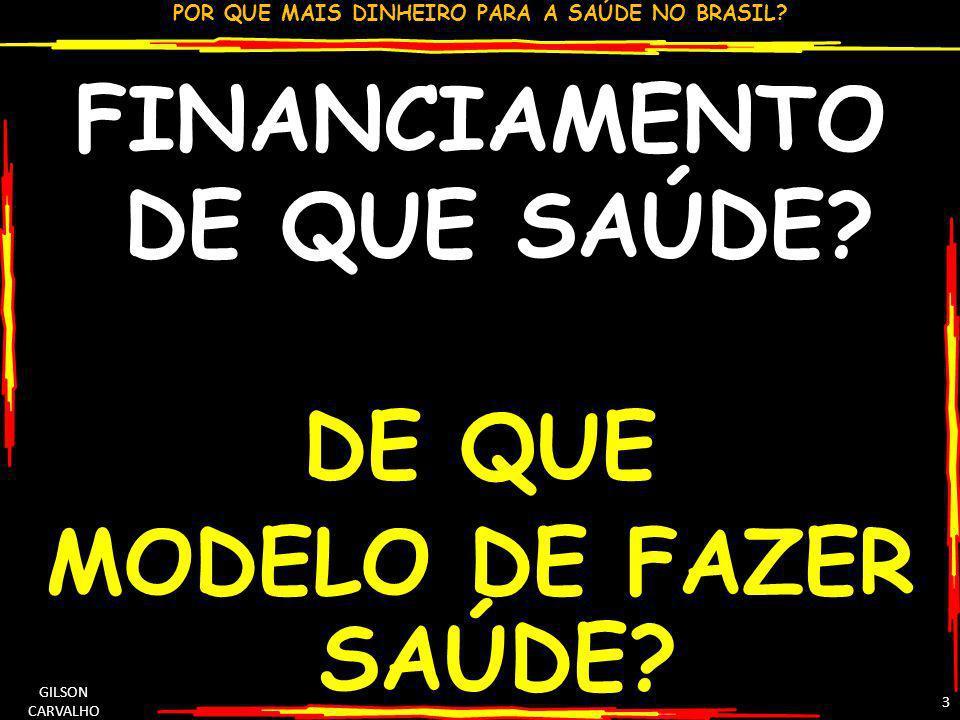POR QUE MAIS DINHEIRO PARA A SAÚDE NO BRASIL? GILSON CARVALHO 3 FINANCIAMENTO DE QUE SAÚDE? DE QUE MODELO DE FAZER SAÚDE?