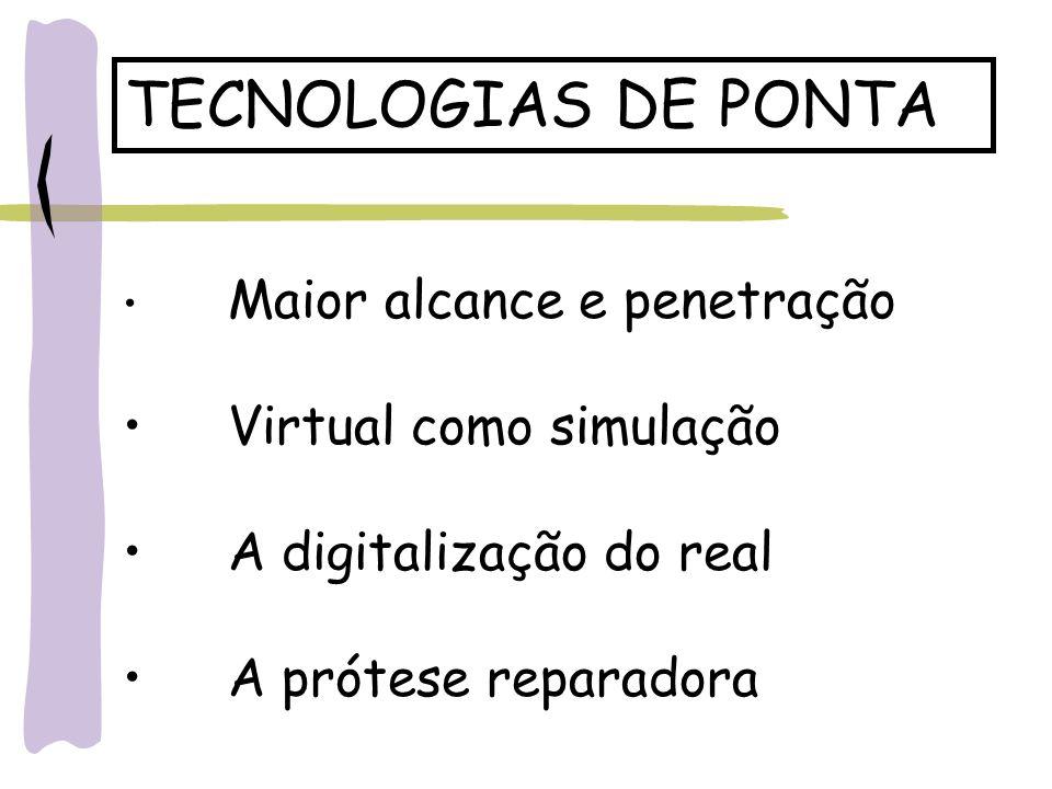 TECNOLOGIAS DE PONTA Maior alcance e penetração Virtual como simulação A digitalização do real A prótese reparadora