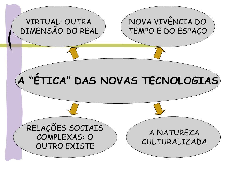 A ÉTICA DAS NOVAS TECNOLOGIAS VIRTUAL: OUTRA DIMENSÃO DO REAL NOVA VIVÊNCIA DO TEMPO E DO ESPAÇO RELAÇÕES SOCIAIS COMPLEXAS: O OUTRO EXISTE A NATUREZA