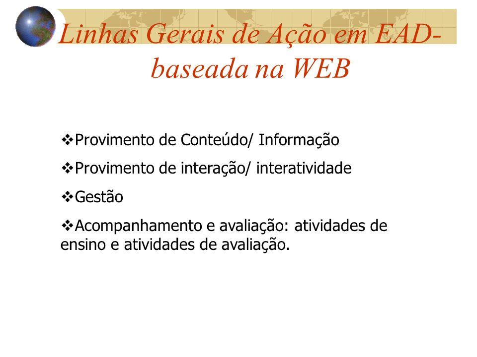 Linhas Gerais de Ação em EAD- baseada na WEB Provimento de Conteúdo/ Informação Provimento de interação/ interatividade Gestão Acompanhamento e avalia