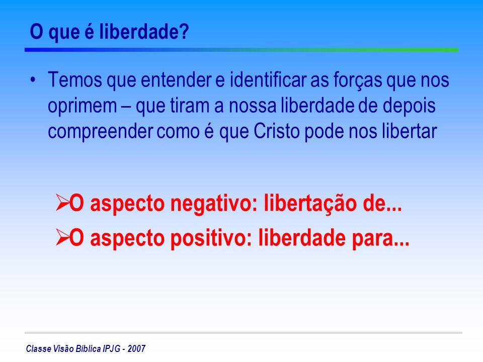 Classe Visão Bíblica IPJG - 2007 O aspecto negativo – libertação de....