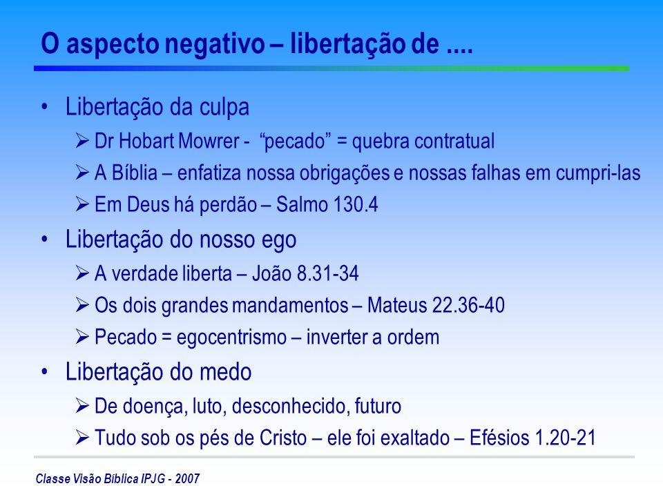 Classe Visão Bíblica IPJG - 2007 O aspecto positivo: liberdade para....