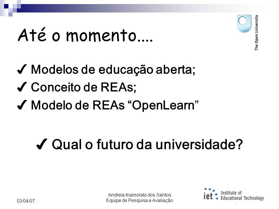 Andreia Inamorato dos Santos Equipe de Pesquisa e Avaliação 03/04/07 RIVED Programa da Secretaria de Educação a Distância – SEED, visando a promover a produção de conteúdos pedagógicos digitais, na forma de objetos de aprendizagem.