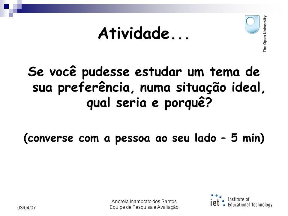 Andreia Inamorato dos Santos Equipe de Pesquisa e Avaliação 03/04/07 Leituras sugeridas Livro: Perspectivas Internacionais em Ensino e Aprendizagem On