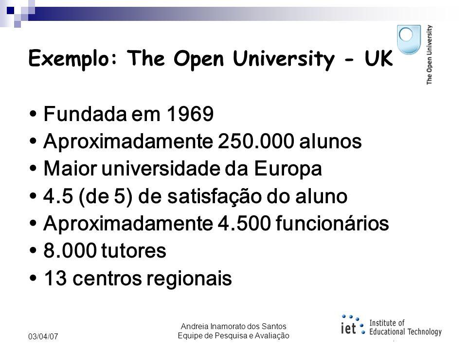 Andreia Inamorato dos Santos Equipe de Pesquisa e Avaliação 03/04/07 Aprendizagem aberta Aprendizagem Aberta é um termo usado para descrever cursos de