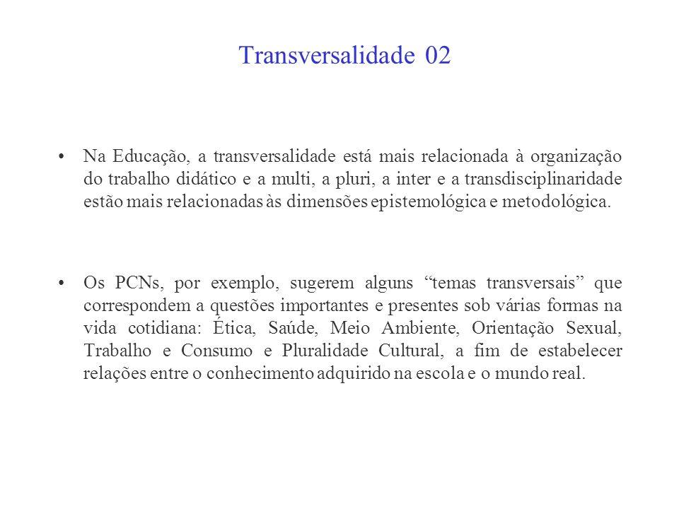 Transversalidade 01 Na França, o termo transversalidade foi se impondo desde os anos 50. Nos anos 60, Felix Guattari, em sua obra Psychanalyse et tran