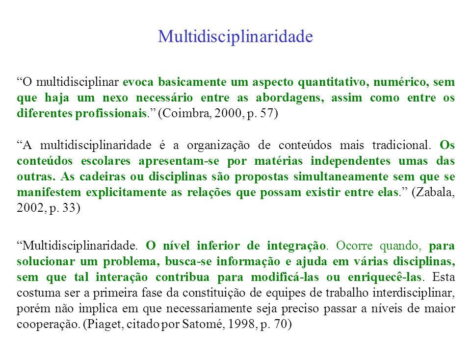 Transversalidade 02 Na Educação, a transversalidade está mais relacionada à organização do trabalho didático e a multi, a pluri, a inter e a transdisc