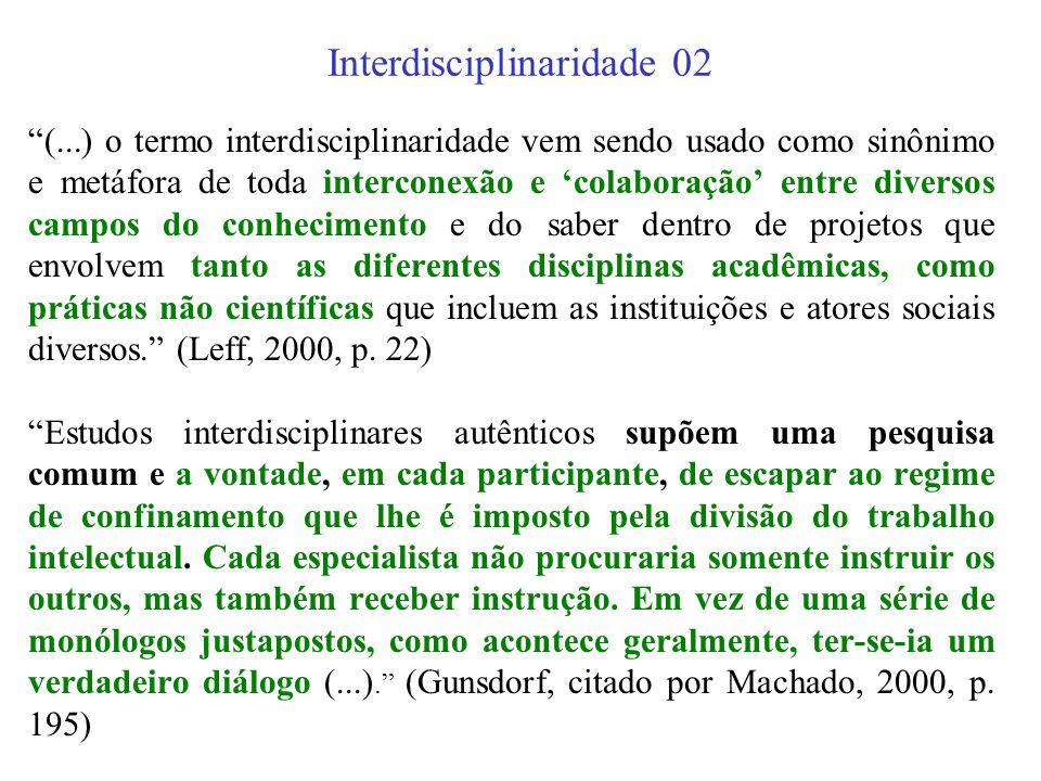 Interdisciplinaridade 01 A interdisciplinaridade é um método de pesquisa e de ensino suscetível de fazer com que duas ou mais disciplinas interajam en