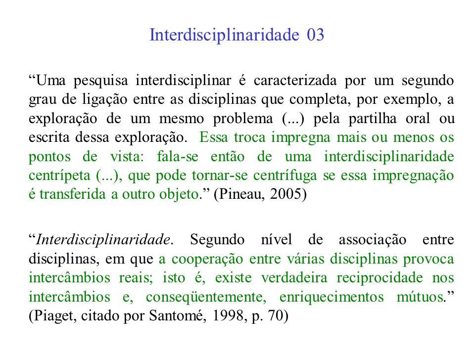 Interdisciplinaridade 02 (...) o termo interdisciplinaridade vem sendo usado como sinônimo e metáfora de toda interconexão e colaboração entre diverso