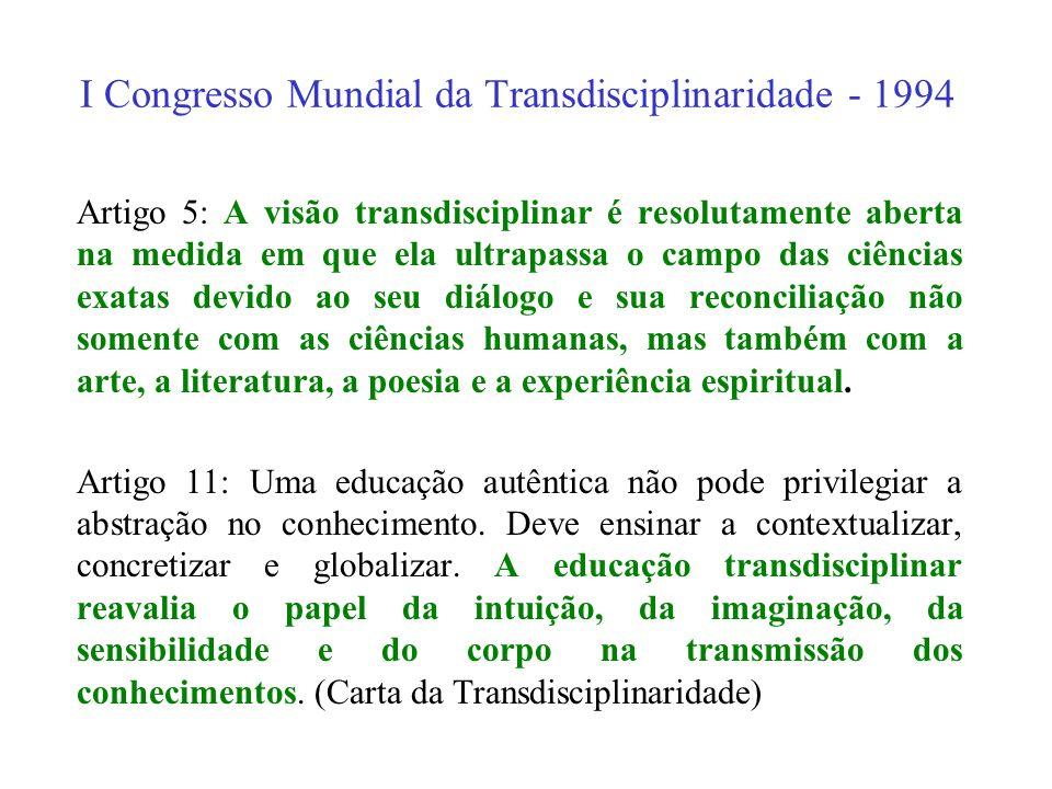 I Congresso Mundial da Transdisciplinaridade - 1994 Artigo 2: O reconhecimento da existência de diferentes níveis de Realidade, regidos por lógicas di