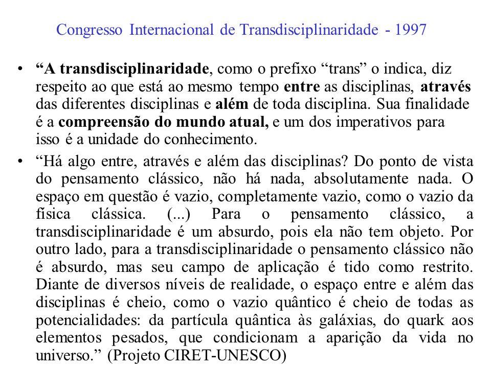 I Congresso Mundial da Transdisciplinaridade - 1994 Artigo 5: A visão transdisciplinar é resolutamente aberta na medida em que ela ultrapassa o campo