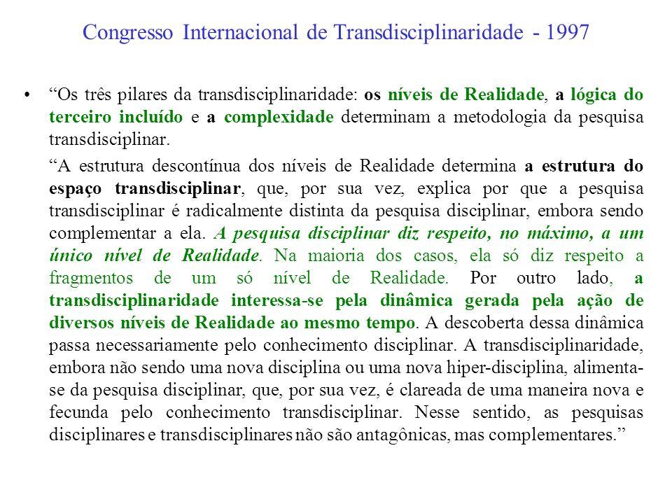 Congresso Internacional de Transdisciplinaridade - 1997 A transdisciplinaridade, como o prefixo trans o indica, diz respeito ao que está ao mesmo temp