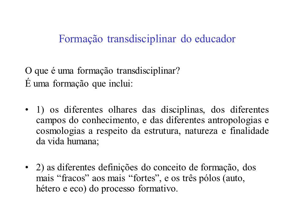 Transdisciplinaridade e formação Se retornamos então ao conceito de transdisciplinaridade, podemos dizer que ela pode ser definida como: 1) o que está