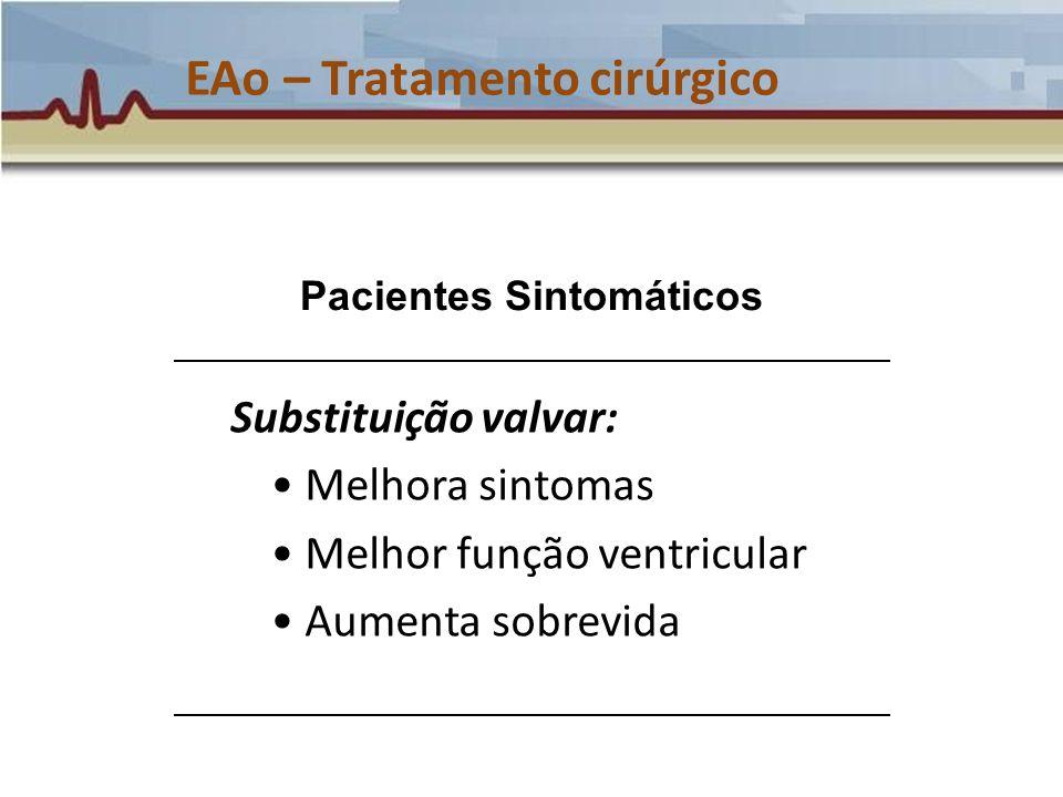 EAo – Tratamento cirúrgico Substituição valvar: Melhora sintomas Melhor função ventricular Aumenta sobrevida Pacientes Sintomáticos