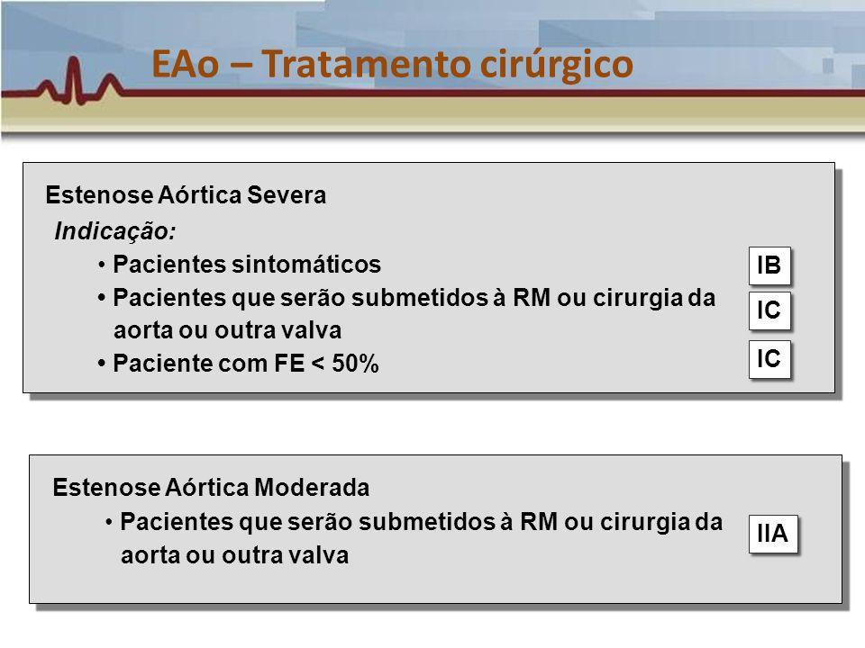 EAo – Tratamento cirúrgico Estenose Aórtica Severa Indicação: Pacientes sintomáticos Pacientes que serão submetidos à RM ou cirurgia da aorta ou outra