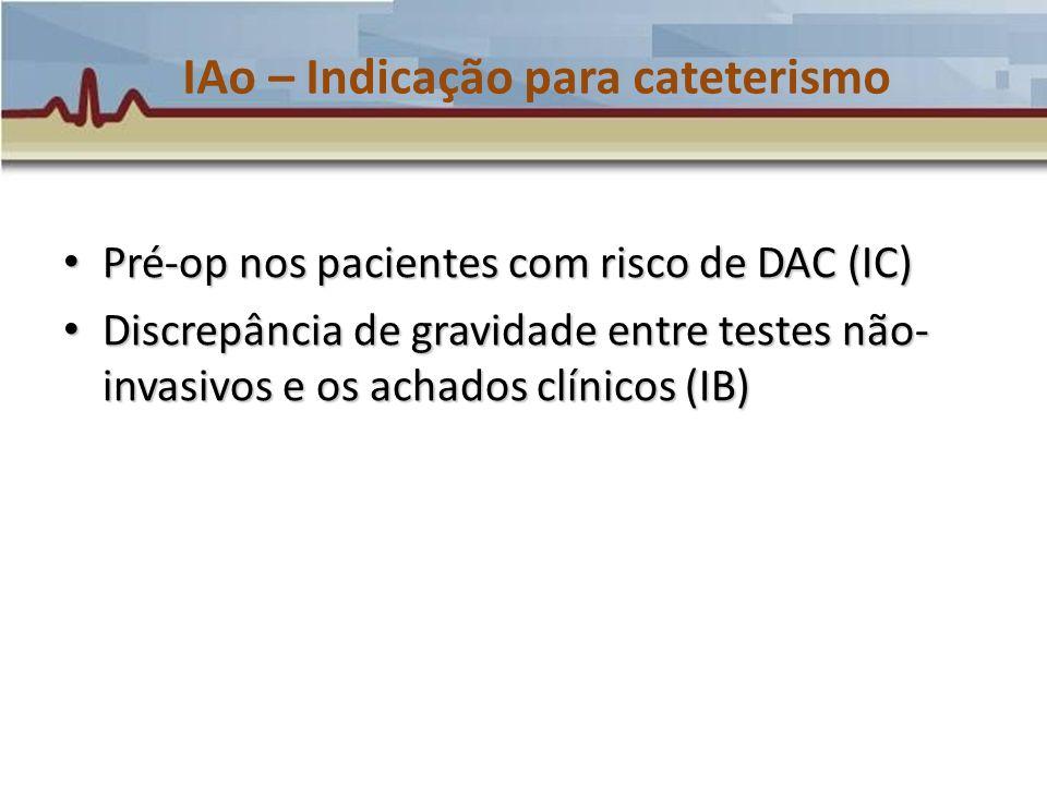 IAo – Indicação para cateterismo Pré-op nos pacientes com risco de DAC (IC) Pré-op nos pacientes com risco de DAC (IC) Discrepância de gravidade entre