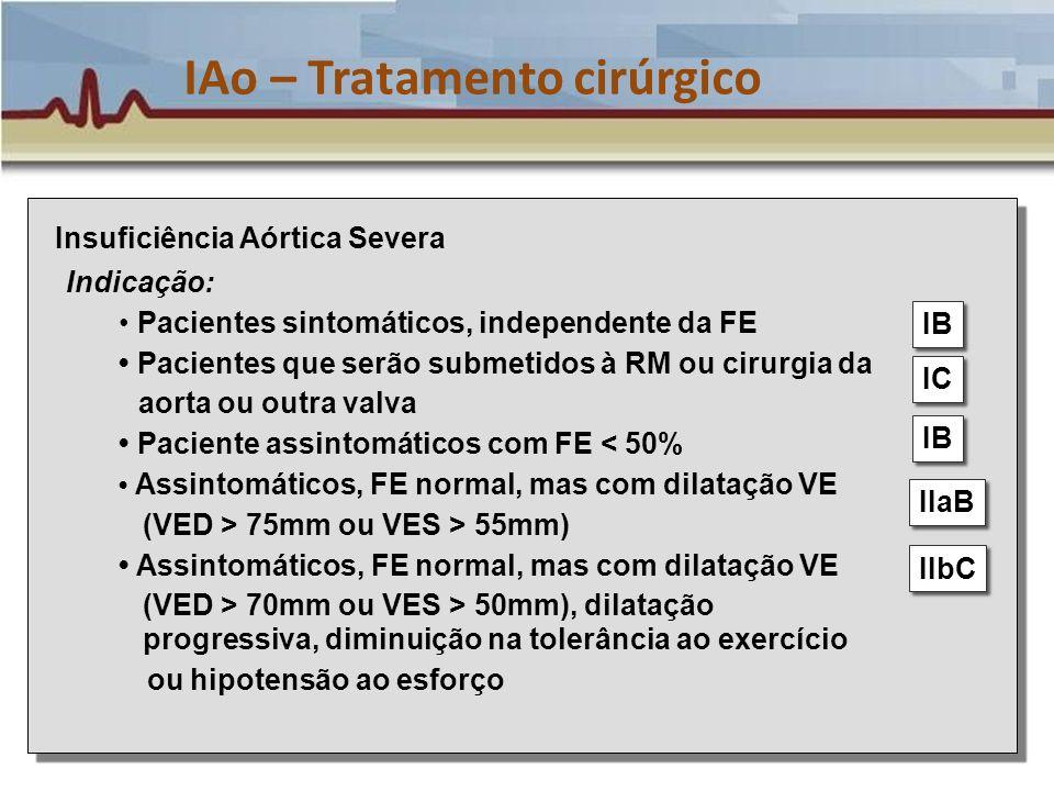 IAo – Tratamento cirúrgico Insuficiência Aórtica Severa Indicação: Pacientes sintomáticos, independente da FE Pacientes que serão submetidos à RM ou c