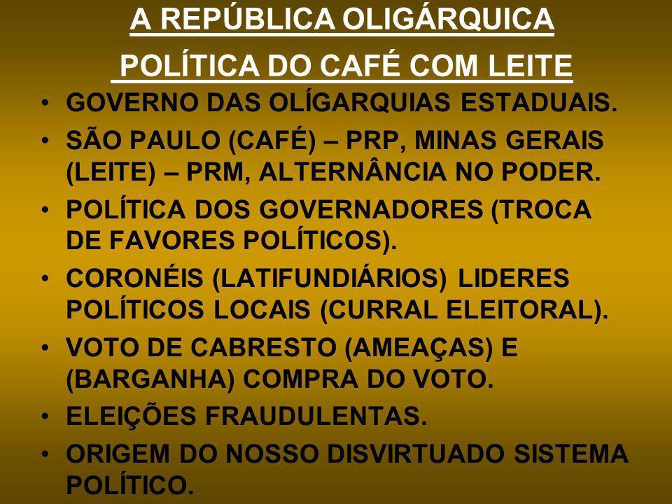 A REPÚBLICA OLIGÁRQUICA POLÍTICA DO CAFÉ COM LEITE GOVERNO DAS OLÍGARQUIAS ESTADUAIS. SÃO PAULO (CAFÉ) – PRP, MINAS GERAIS (LEITE) – PRM, ALTERNÂNCIA