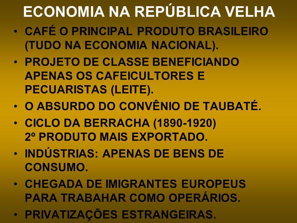 ECONOMIA NA REPÚBLICA VELHA CAFÉ O PRINCIPAL PRODUTO BRASILEIRO (TUDO NA ECONOMIA NACIONAL). PROJETO DE CLASSE BENEFICIANDO APENAS OS CAFEICULTORES E