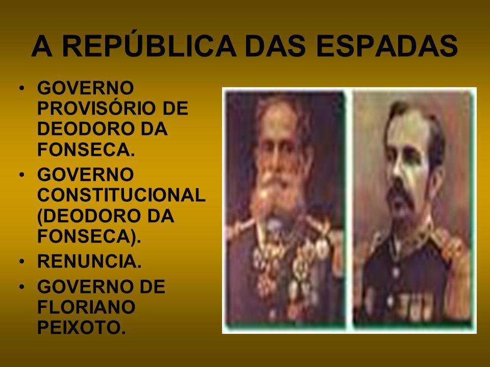 A REPÚBLICA DAS ESPADAS GOVERNO PROVISÓRIO DE DEODORO DA FONSECA. GOVERNO CONSTITUCIONAL (DEODORO DA FONSECA). RENUNCIA. GOVERNO DE FLORIANO PEIXOTO.