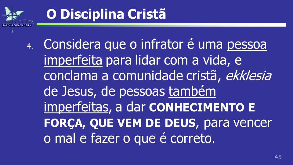 45 O Disciplina Cristã 4. Considera que o infrator é uma pessoa imperfeita para lidar com a vida, e conclama a comunidade cristã, ekklesia de Jesus, d