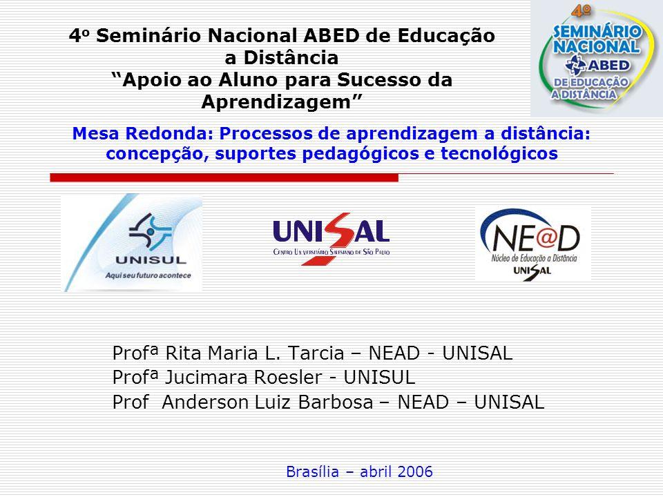 Mesa Redonda: Processos de aprendizagem a distância: concepção, suportes pedagógicos e tecnológicos Profª Rita Maria L. Tarcia – NEAD - UNISAL Profª J